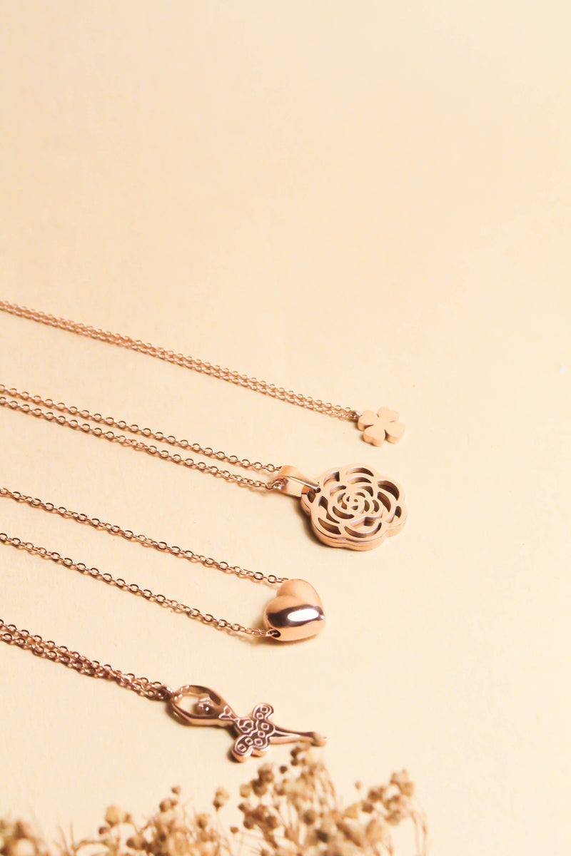 Giselle Ballerina in Rose Gold Pendant Necklace