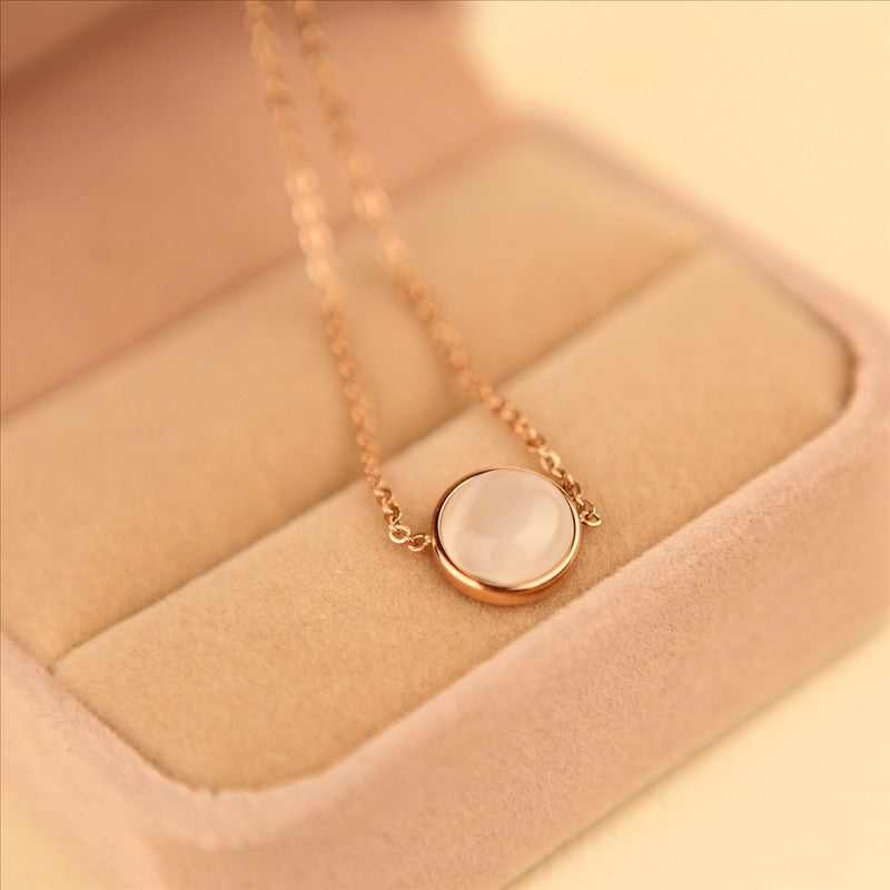 Lynx Regal Round Cat's Eye Stud Pendant in Rose Gold Chain Necklace