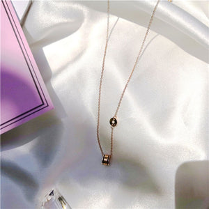 Nile Mini Barrel Ring Pendant with Roman Numeral and Double Black Line in Rose Gold Chain Necklace