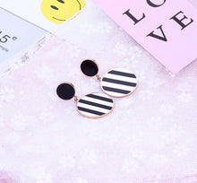 Load image into Gallery viewer, Stella Vogue in Black and White Striped Double Circle with Rose Gold Link Drop Earrings
