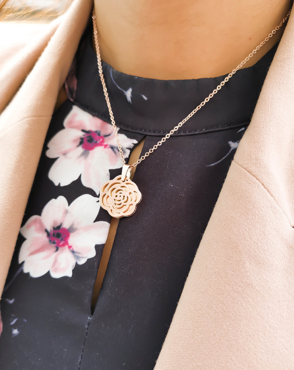 Camellia Divine Flower Bloom Rose Gold Necklace