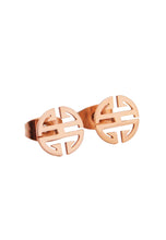 Load image into Gallery viewer, Miracle Blessings Symbolic Amulet in Rose Gold Stud Earrings