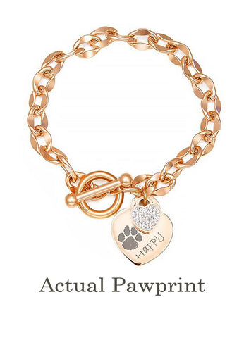 Custom Pet Paw Print Heart-tag Pendant Toggle Clasp Bracelet