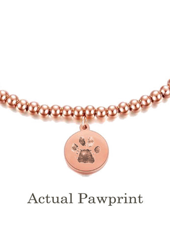 Your Pet's Actual Paw Print Custom Beaded Ball Chain Bracelet (Silver)