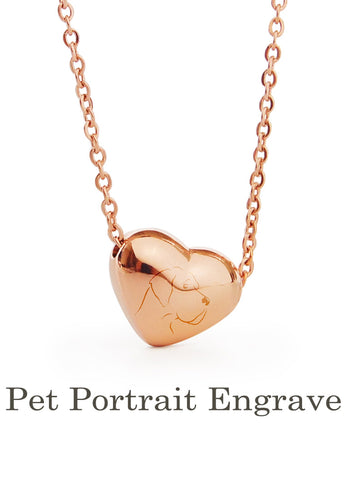 Your Pet's Portrait Heart Pendant Necklace