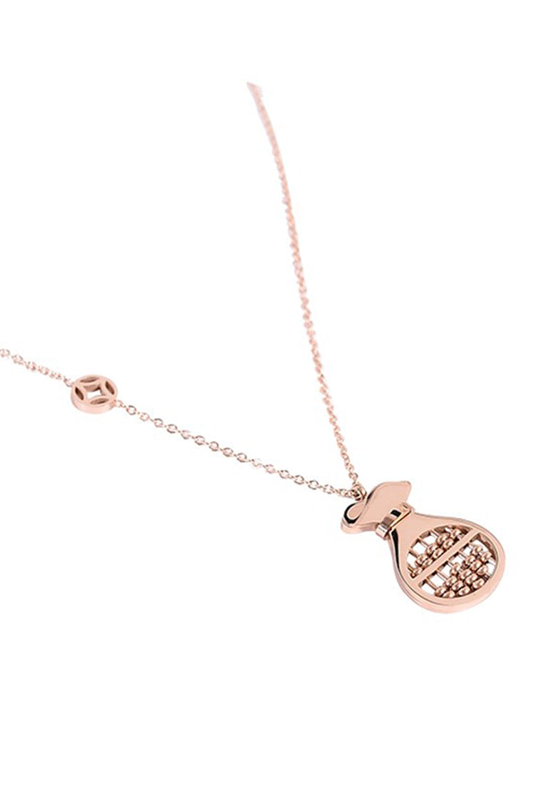 Prosperity Money Bag Abacus Pendant in Rose Gold Chain Necklace
