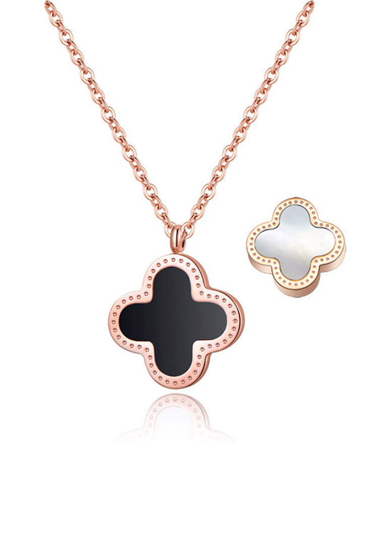 Adele Reversible Two Side Four Leaf Clover Pendant with White Mother Pearl and Black Ceramic Inlay in Rose Gold Chain Necklace