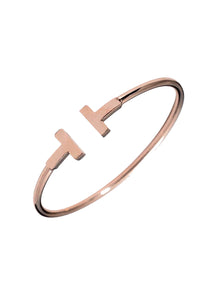 Antoinette Simple Slim Open Cuff Bangle in Rose Gold
