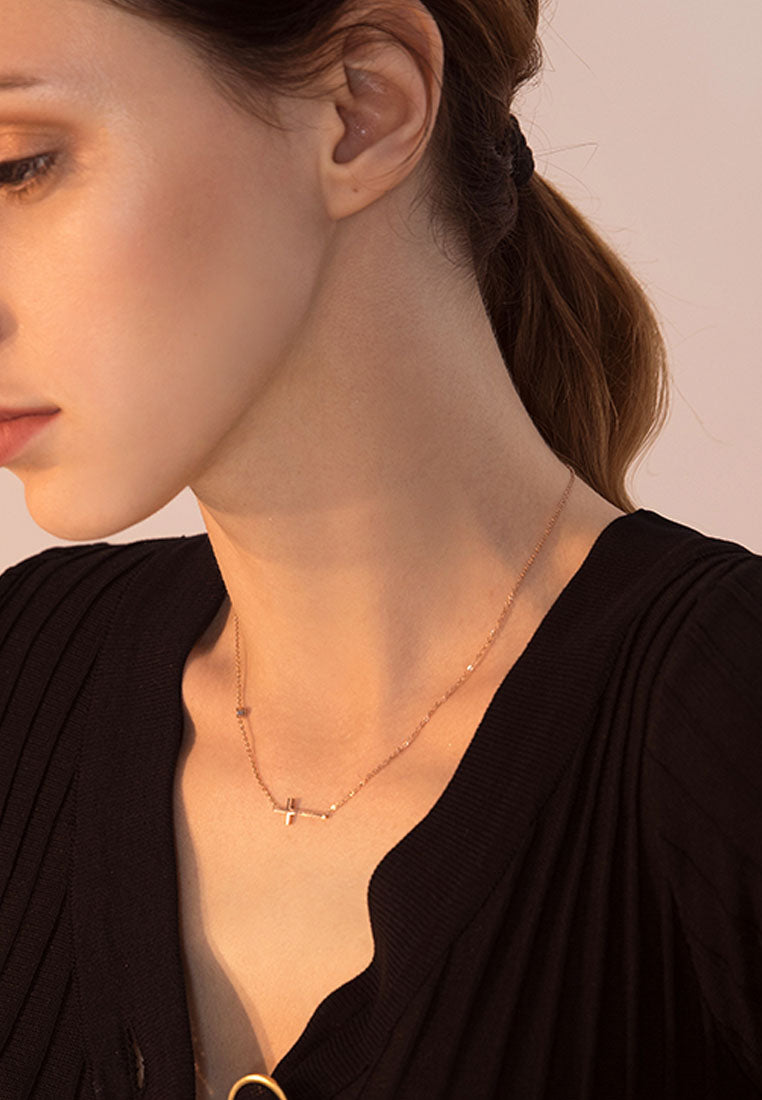 Grace Sideways Cross Pendant in Rose Gold Chain Necklace