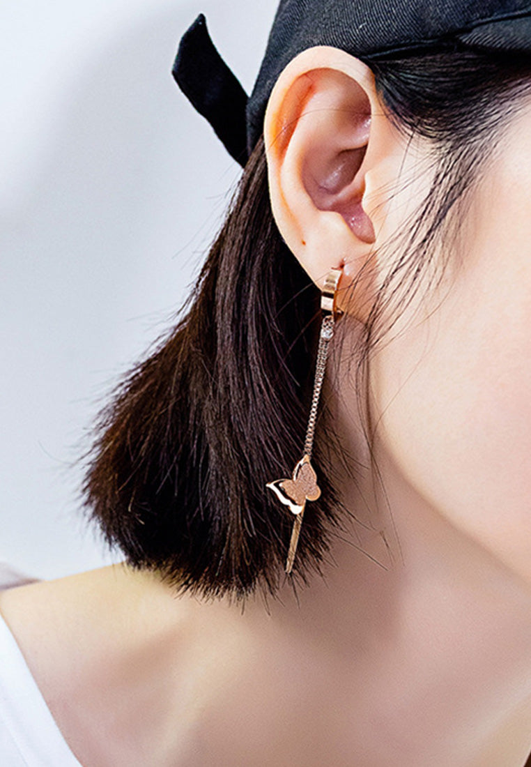 Queen Alexandra with Long Double Tassel Chain Butterfly Dangle Earrings
