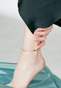 Mina Love U Chain with Heart in Dainty Rose Gold Anklet