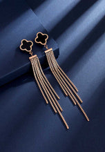 Load image into Gallery viewer, Adele Four Leaf Clover in Black Ceramic Long Tassel Dangle Earrings