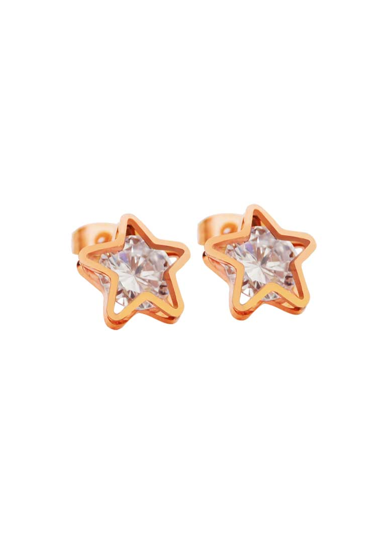 Avvia Zirconia with Iconic Star Frame in Rose Gold Star Stud Earrings