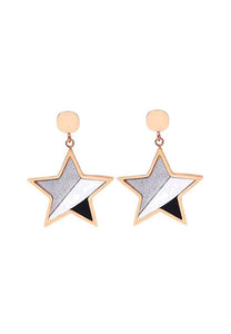 Castor Stylish Tri-Color Sparkling Star Drop Earrings