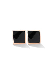 Cleopatra Curved Square in Black Inlay Stud Earrings