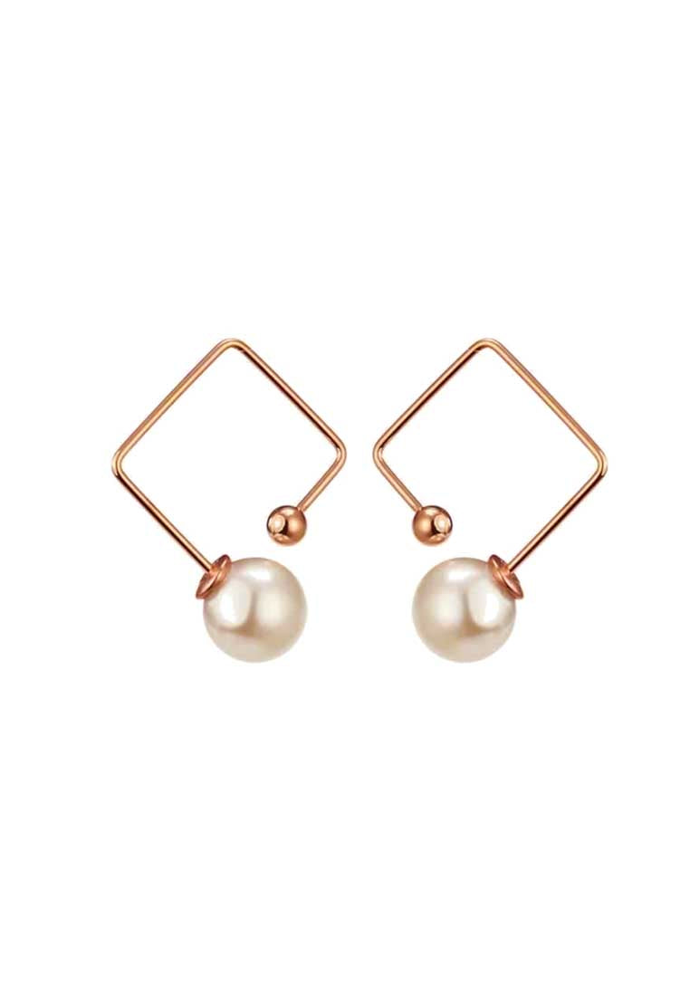 Mia Floating Single White Pearl Stud Earrings