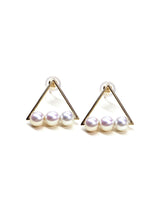 Load image into Gallery viewer, Rhapsody Hollow Triangle with binding White Pearls Stud Earrings