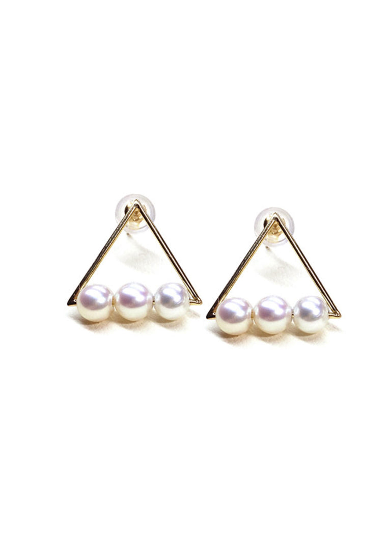 Rhapsody Hollow Triangle with binding White Pearls Stud Earrings