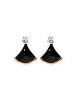 Load image into Gallery viewer, Senorita Black Sector with Zirconia Stud Earrings