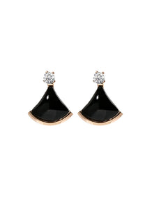 Senorita Black Sector with Zirconia Stud Earrings