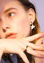 Load image into Gallery viewer, Castor Stylish Tri-Color Sparkling Star Drop Earrings