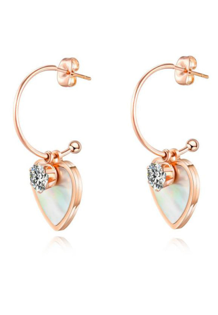 Marjorie White Mother of Pearl with Zirconia Solitaire Rose Gold Earrings