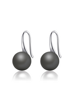 Yin Yang Moon Drop on Silver Hook Earrings