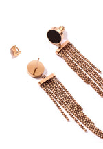 Lucie Round Stud Long Tassel Chains Dangle Earrings