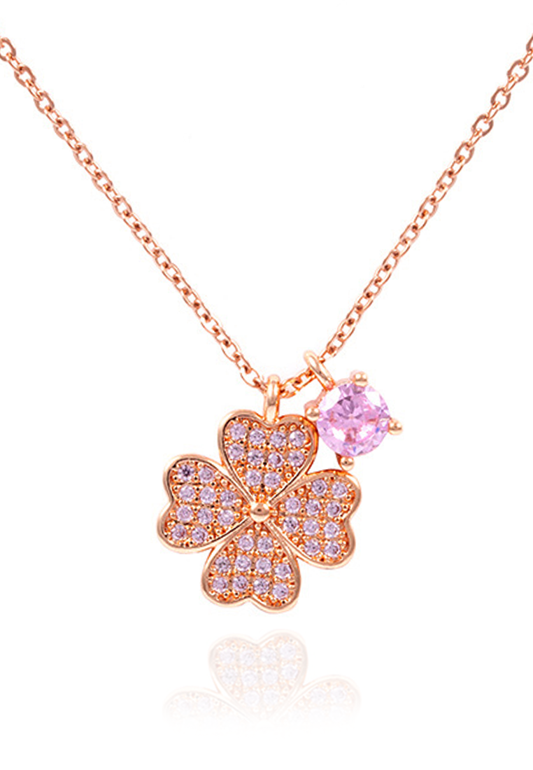 Cathy Four-Leaf Clover embedded with Pink Cubic Zirconia Clusters Necklace