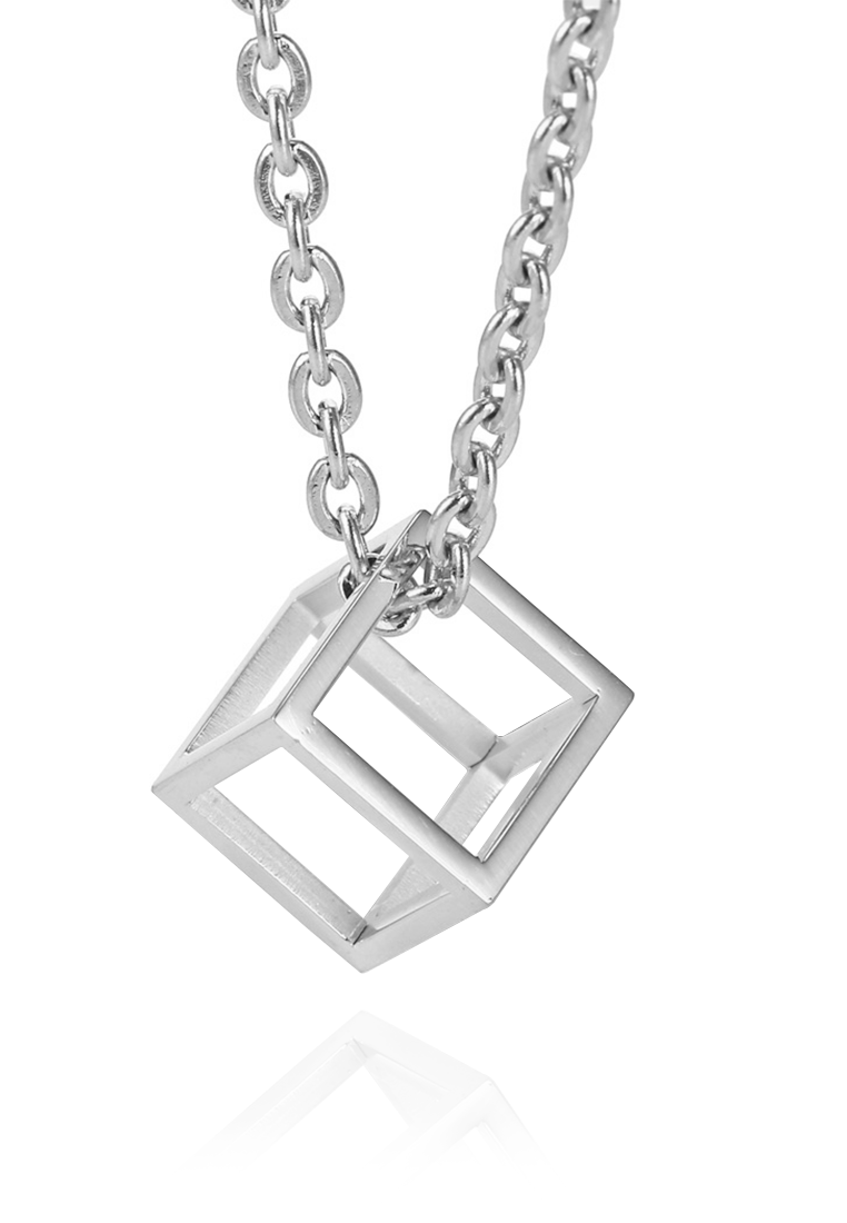 Constance Geometric Hollow Cube Necklace