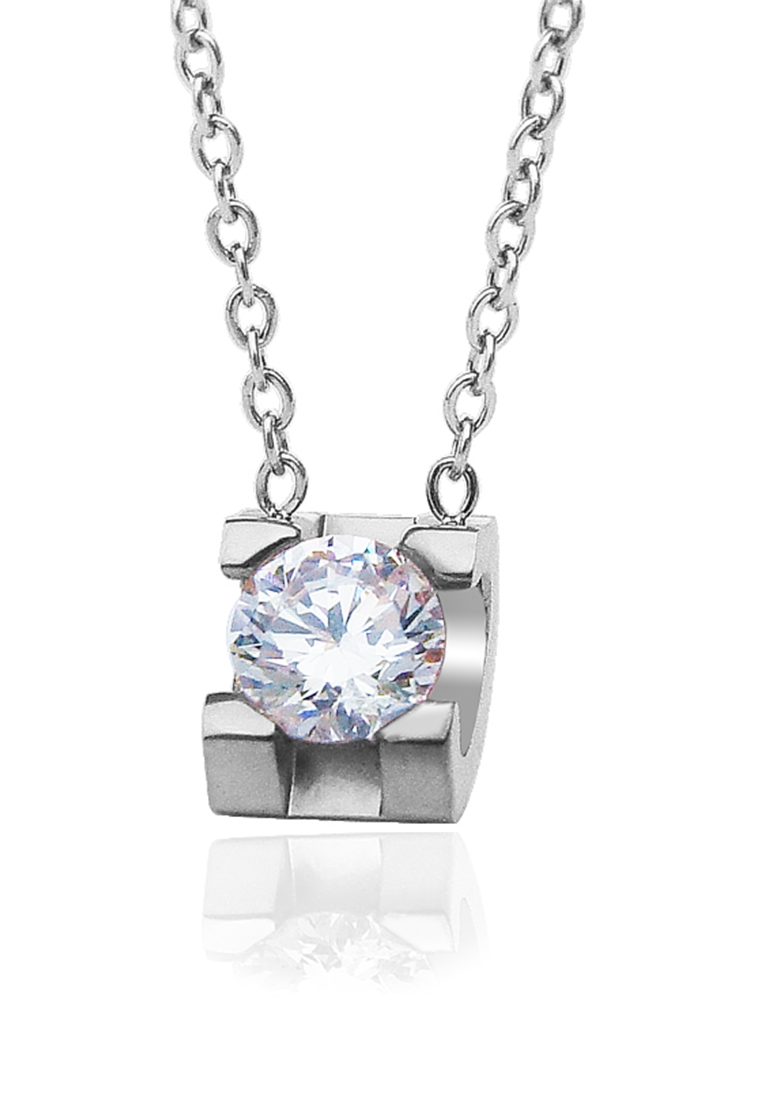 Baily Zirconia Bezel Solitaire Necklace