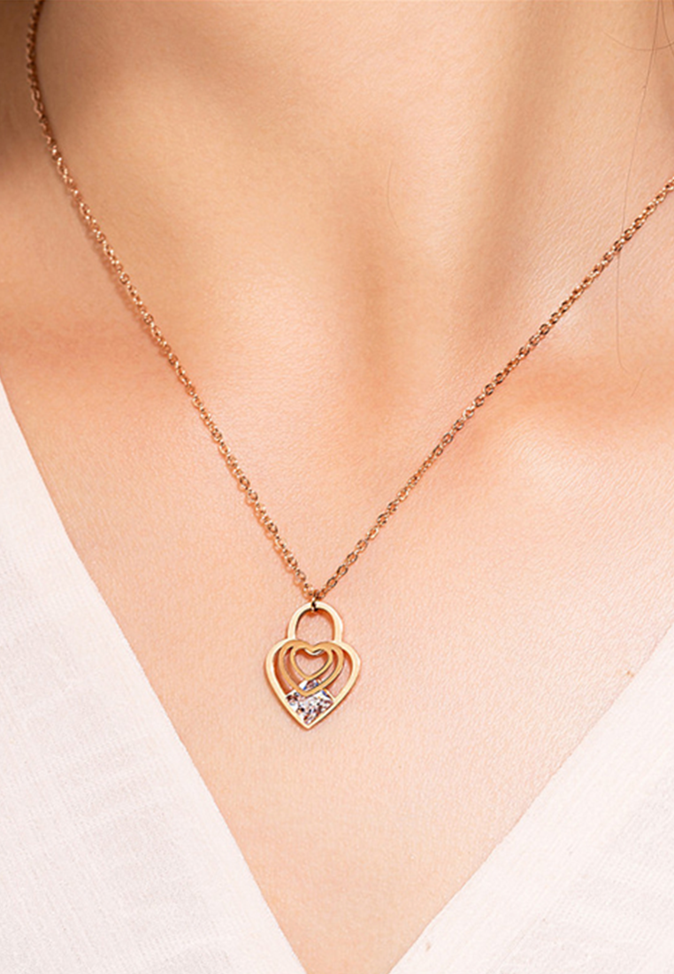 Cristal Heart Lock with Princess Cut Cubic Zirconia Necklace in Rose Gold