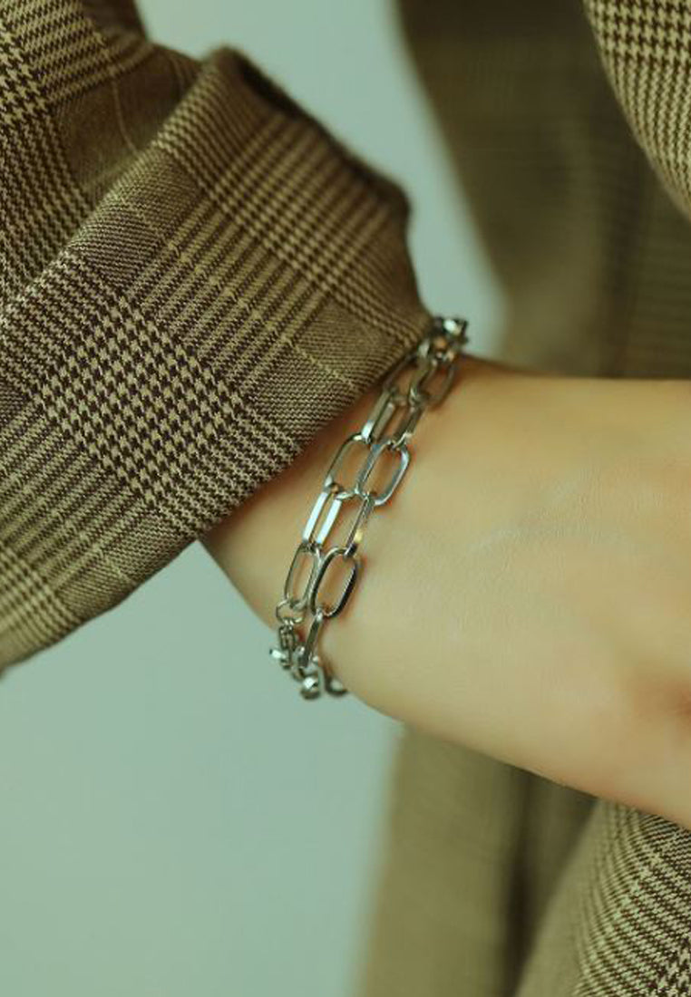 River Twisted Ring Separable and Adjustable Necklace to Bracelet in Silver