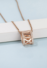 Kenix Roman Numerals with Cubic Zirconia Lining on Disk-like Oblate Spheroids Necklace in Rose Gold