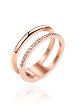 Lottie Cubic Zirconia Double Twin Band Ring in Rose Gold