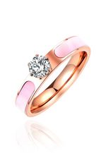 Rosaline Pink Mother Pearl Cubic Zirconia Ring in Rose Gold