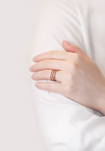 Loretta Zirconia Three Band Ring in Rose Gold