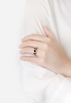 Aubree Black Round Roman Numeral Ring in Rose Gold