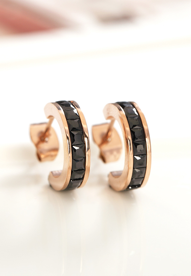 Georgia Zirconia C Hoop in Rose Gold Stud Earrings