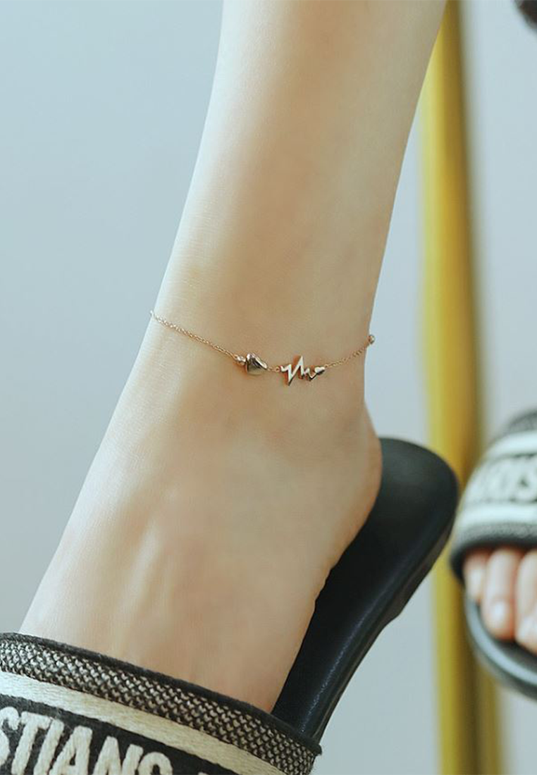 Verity Heartline of Faith Hope Love Rose Gold Anklet