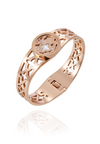 Valeria White Mother Pearl Flower with Cruciform Pattern Spring Bangle in Rose Gold