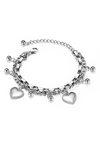 Wisteria Heart Charm Multi-layer Chain Bracelet