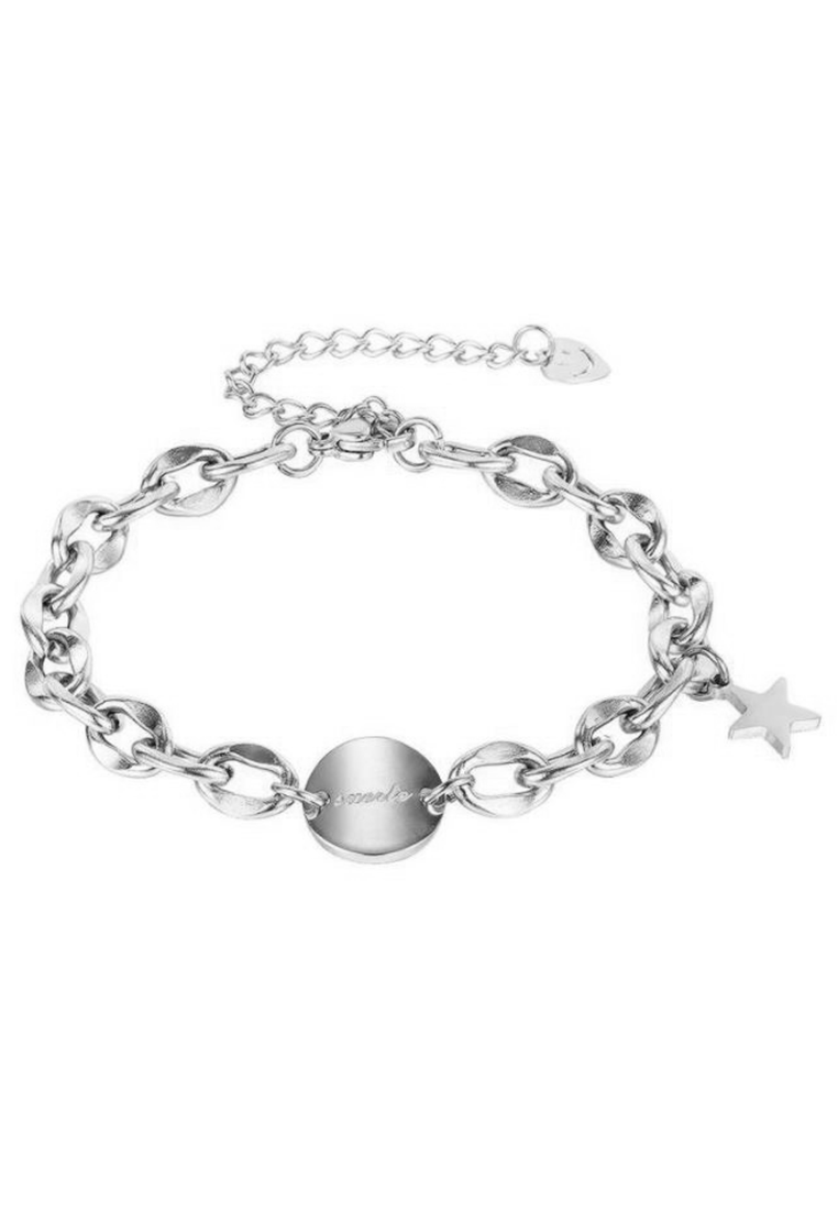 La Suerte Round Curved Coin Disc and Dainty Lucky Star Charm Trinket Bracelet