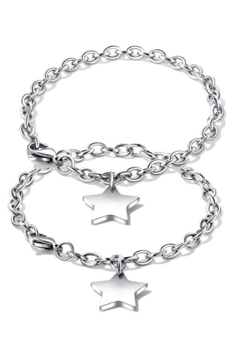 Twinkle Star Emblem Pendant on Chain Link Bracelet in Silver