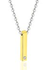 Sylver Vertical ID Bar Necklace in Gold (For Him)