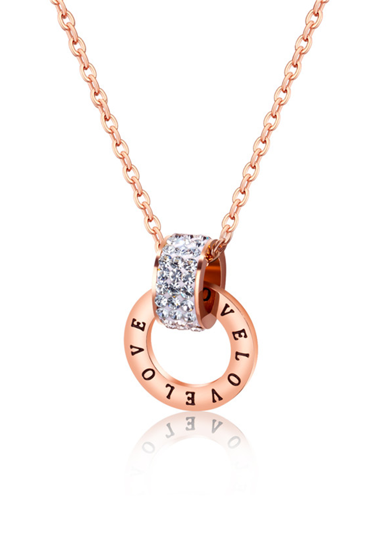 Apollo Interlocking Love with Zirconia Broad Ring Necklace in Rose Gold