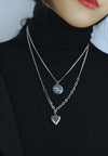 Evangeline Heart Pendant with Separable 'Good Luck' Disc Tag Necklace in Silver