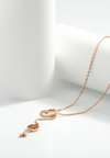 Promise Heart Lock and Drop Key Necklace in Rose Gold