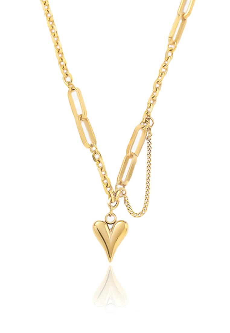 Courtney Love Rustic Heart Shaped Pendant with Multi Chain Necklace