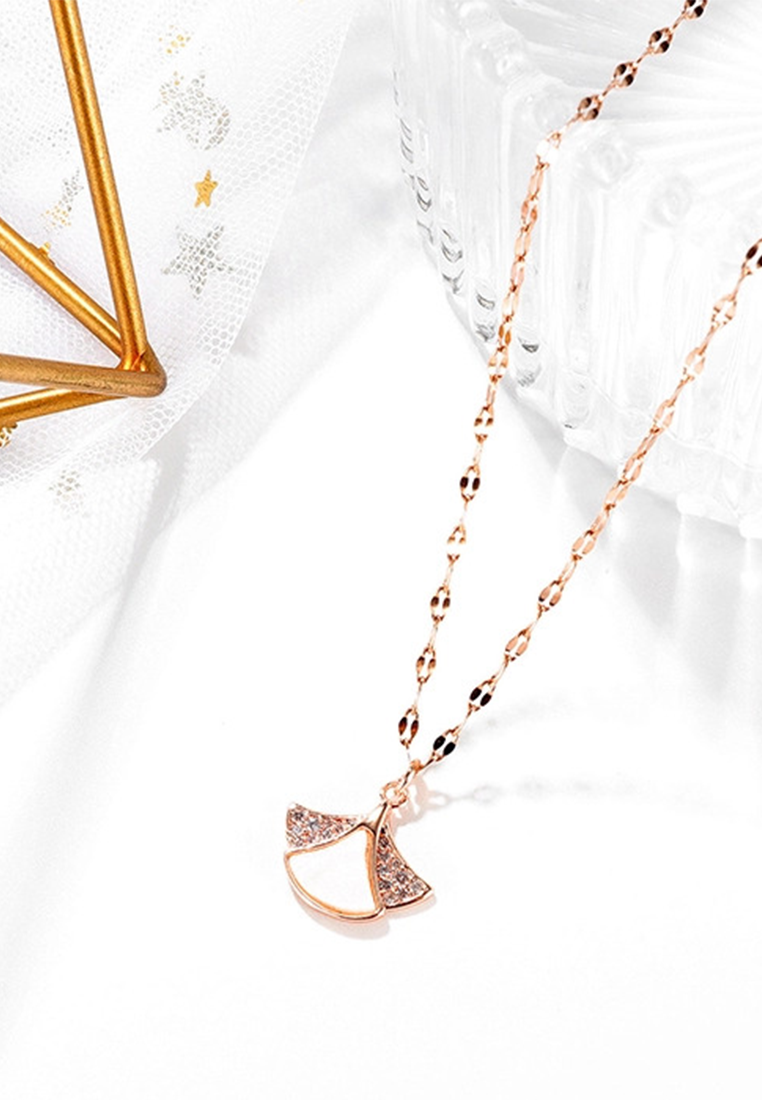 Nalani White Mother Pearl Clover Fan with Micro Cubic Zirconia Wing Cluster Necklace in Rose Gold
